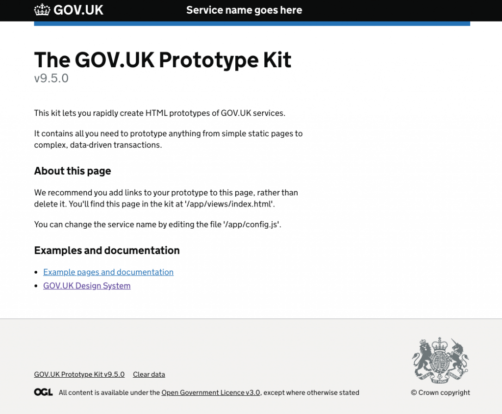 screenshot of the window on localhost:3000 showing the home page of the GOV.UK Protoype Kit