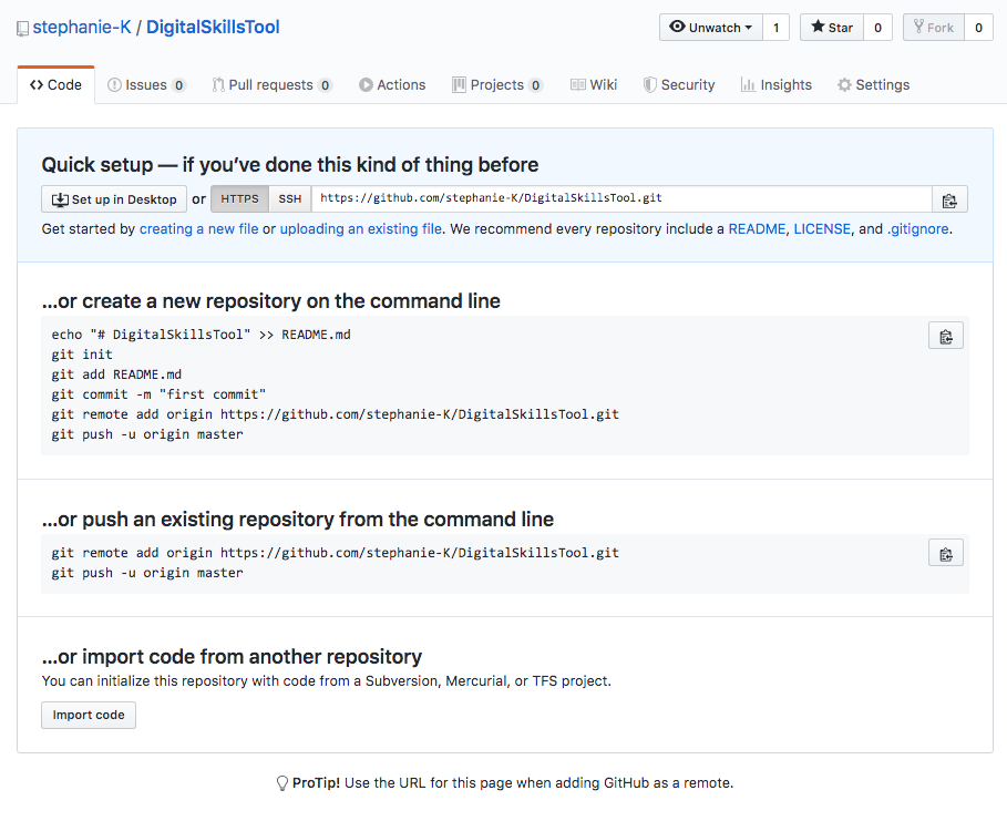page from Github showing different options to do your set up.