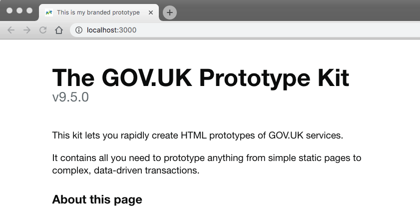 the GOV UK header is gone and you can see the new favicon and the new title in the tab of the browser