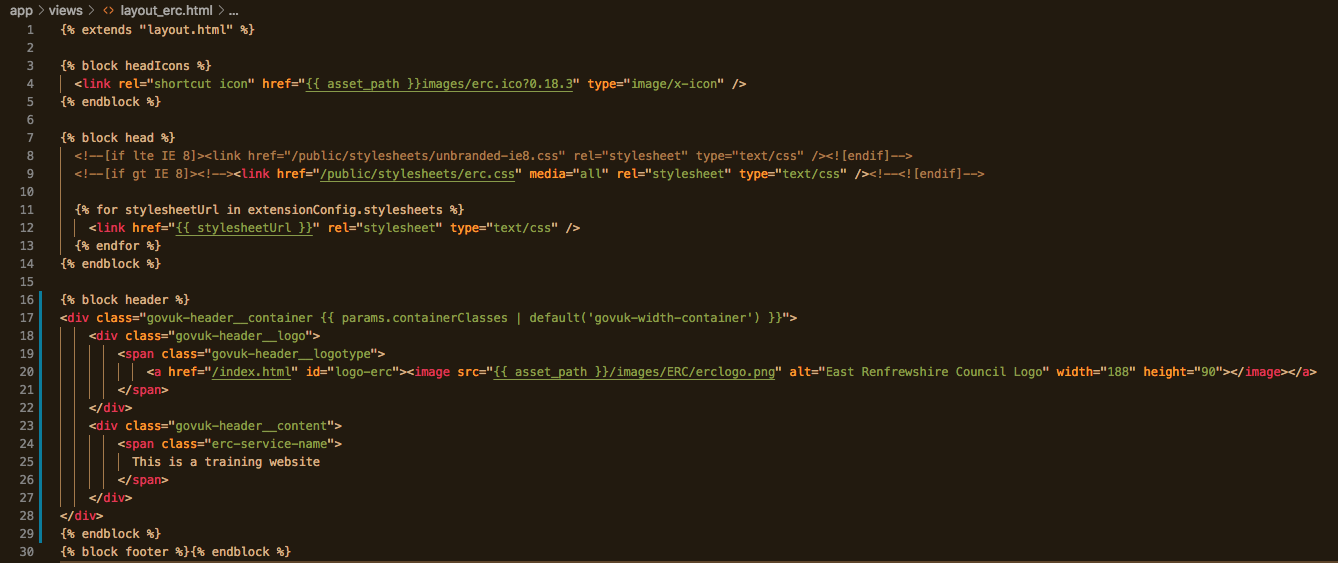 screenshot from the code editor for the HTML