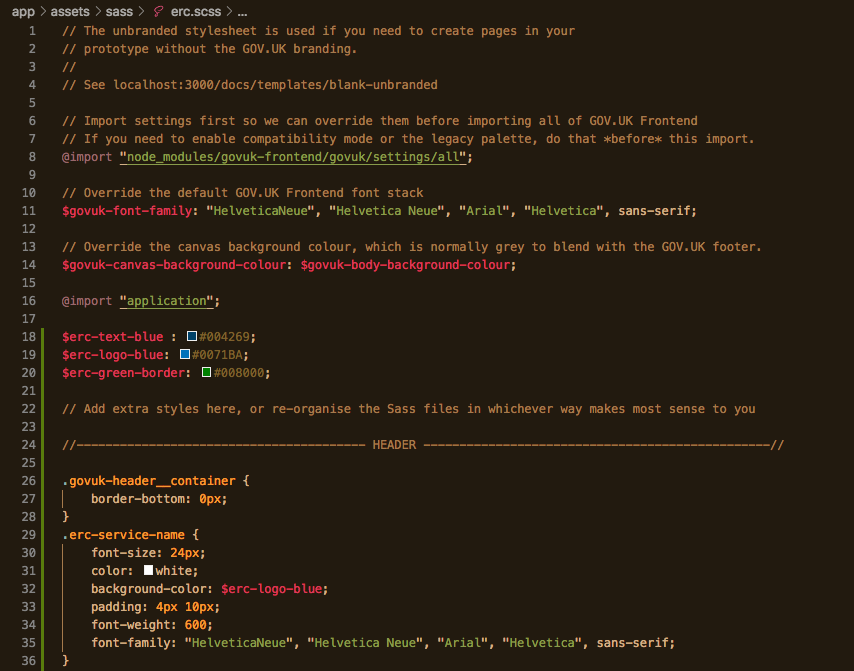 Screenshot in the code editor for the CSS