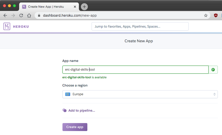 screenshot of the next screen when you create an app on Heroku