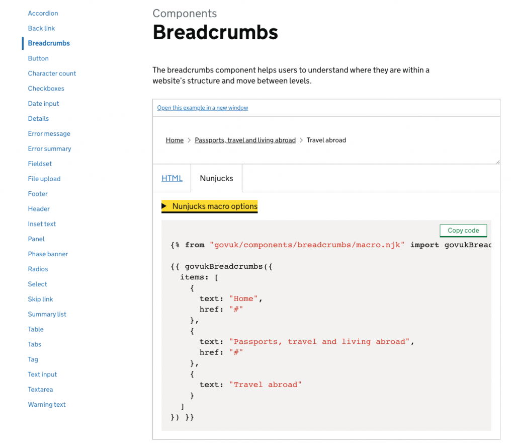 showing the GDS design system component for the breadcrumbs and the code displayed on that page