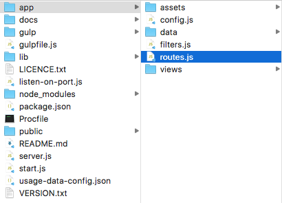 showing the path to the route.js file, it's in the app folder