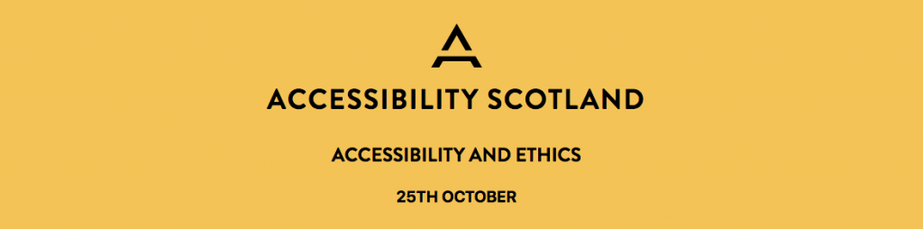 Conference website banner stating: Accessibility and Ethics - 25 October