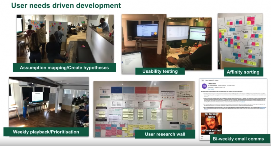 Slide showing various stages of the project work