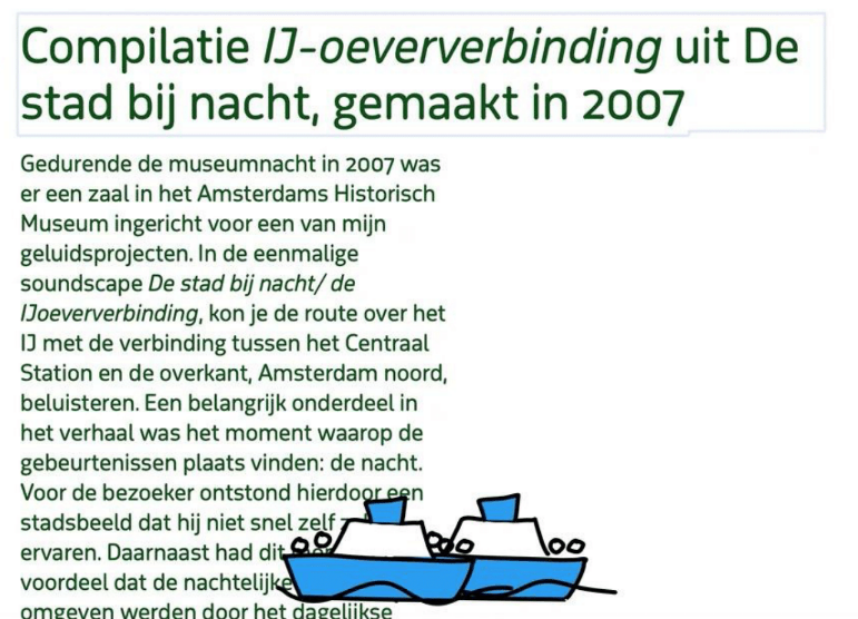 an article in Dutch with little animated boats on the text