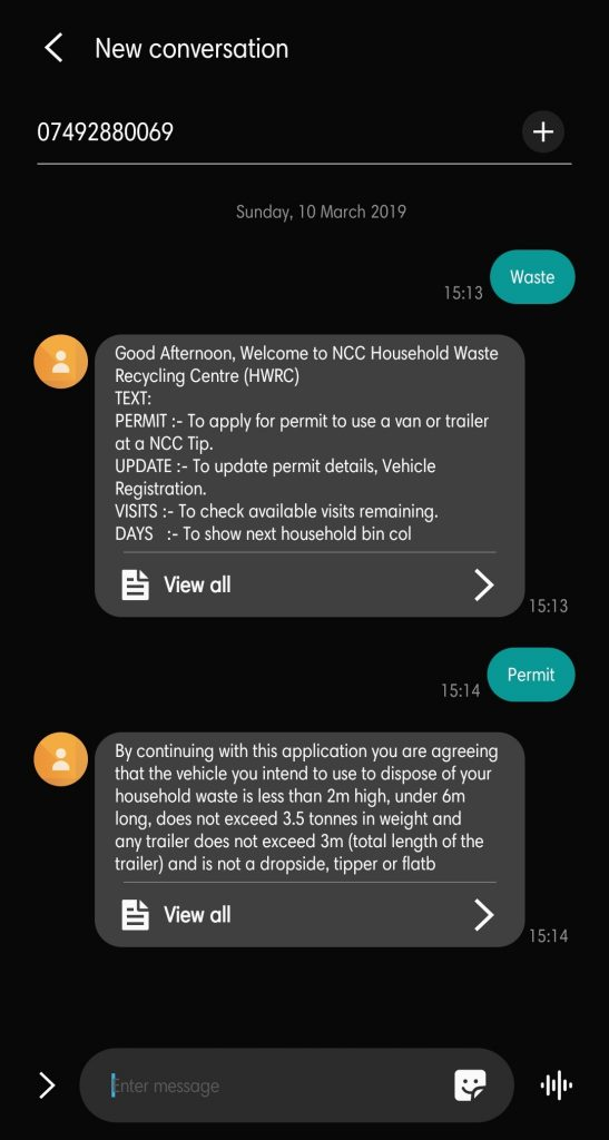 Screenshot of texts while using the chatbot on a phone
