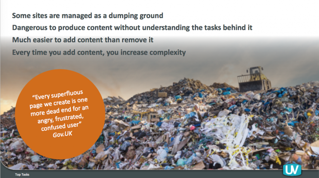 Big garbage mountain with a tractor above, with text saying: some sites are managed as a dumping ground