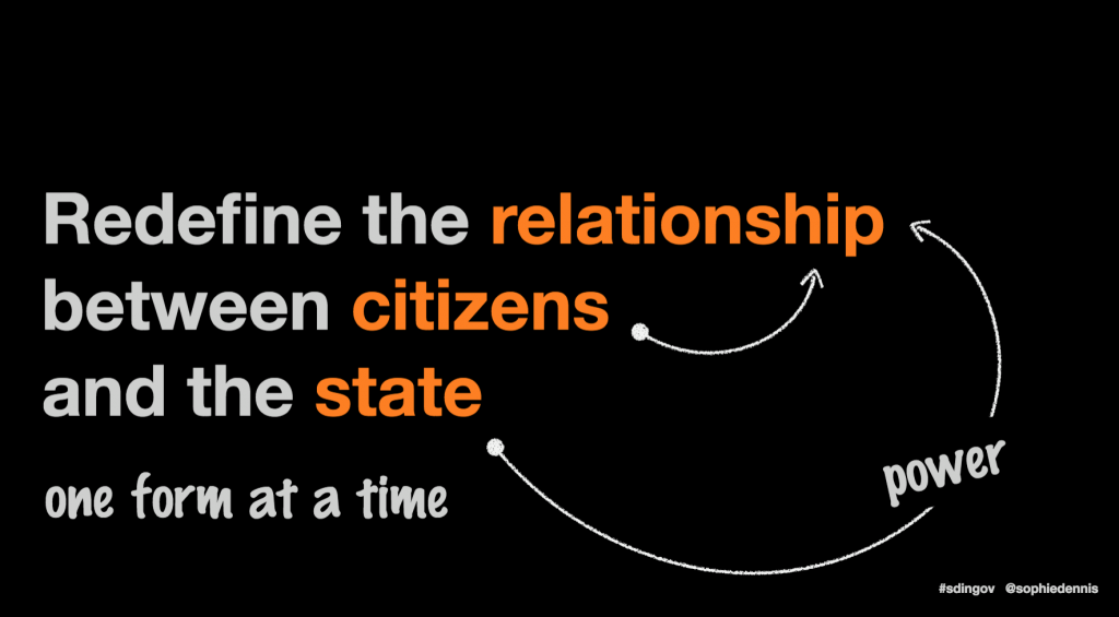 slide stating: redefine the relationship between cistizens and the state, one form at a time