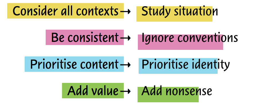 consider all contexts becomes study situation, be consistent becomes ignore conventions, prioritise content becomes prioritise identity, add value becomes add nonsense