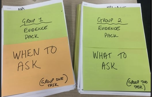 Copies of all evidence for each team: When to ask vs What to ask