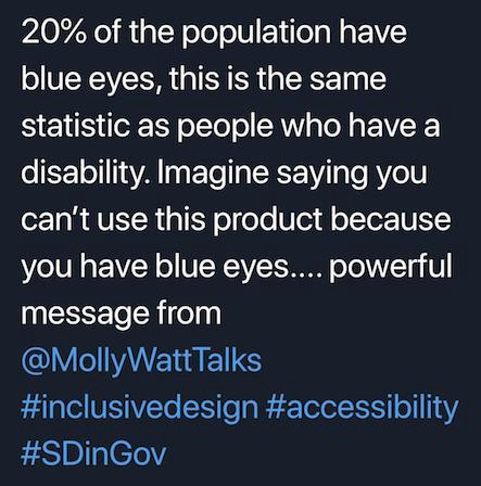 Twitter message stating: 20% of the population have blue eyes, this is the same statistic as people who have a disability. Imagine saying you can't use this product because you have blue eyes ... powerful meesage from Molly Watts