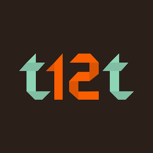 sticker with t12t on it in bright characters