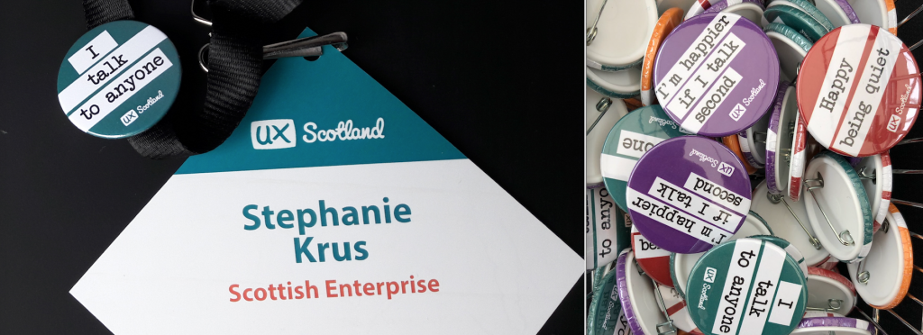 My name badge and a photo of lots of 'social communication' badges-Saying I speak to anyone, or I'm happier if I speak 2nd