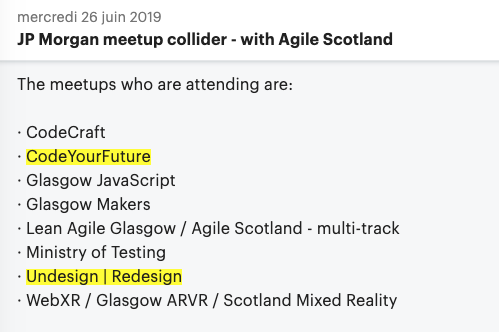 screeshot of the invite to the meetup with the list of meet up groups taking part. Both Code Your Future and Undesign Redesign