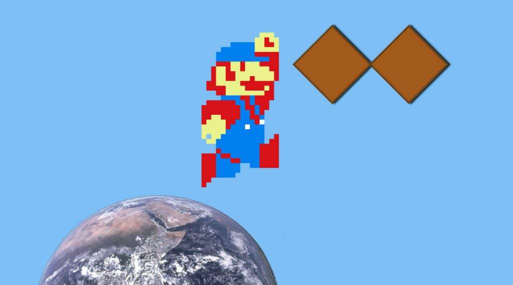 the Earth with a little pixelated   Mario jumping to a double diamond