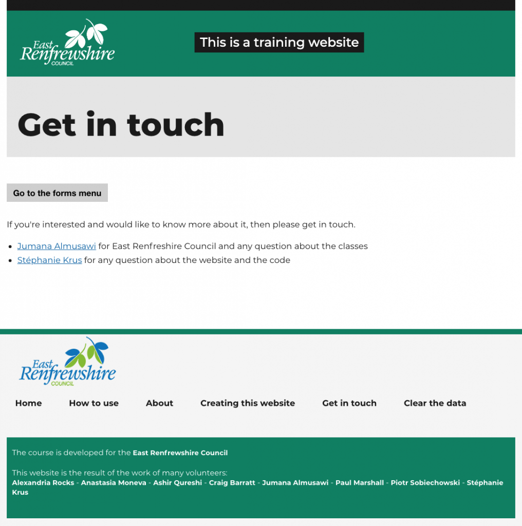 same page for get in touch, this time the top logo is white, the header is green and the footer is a pale grey