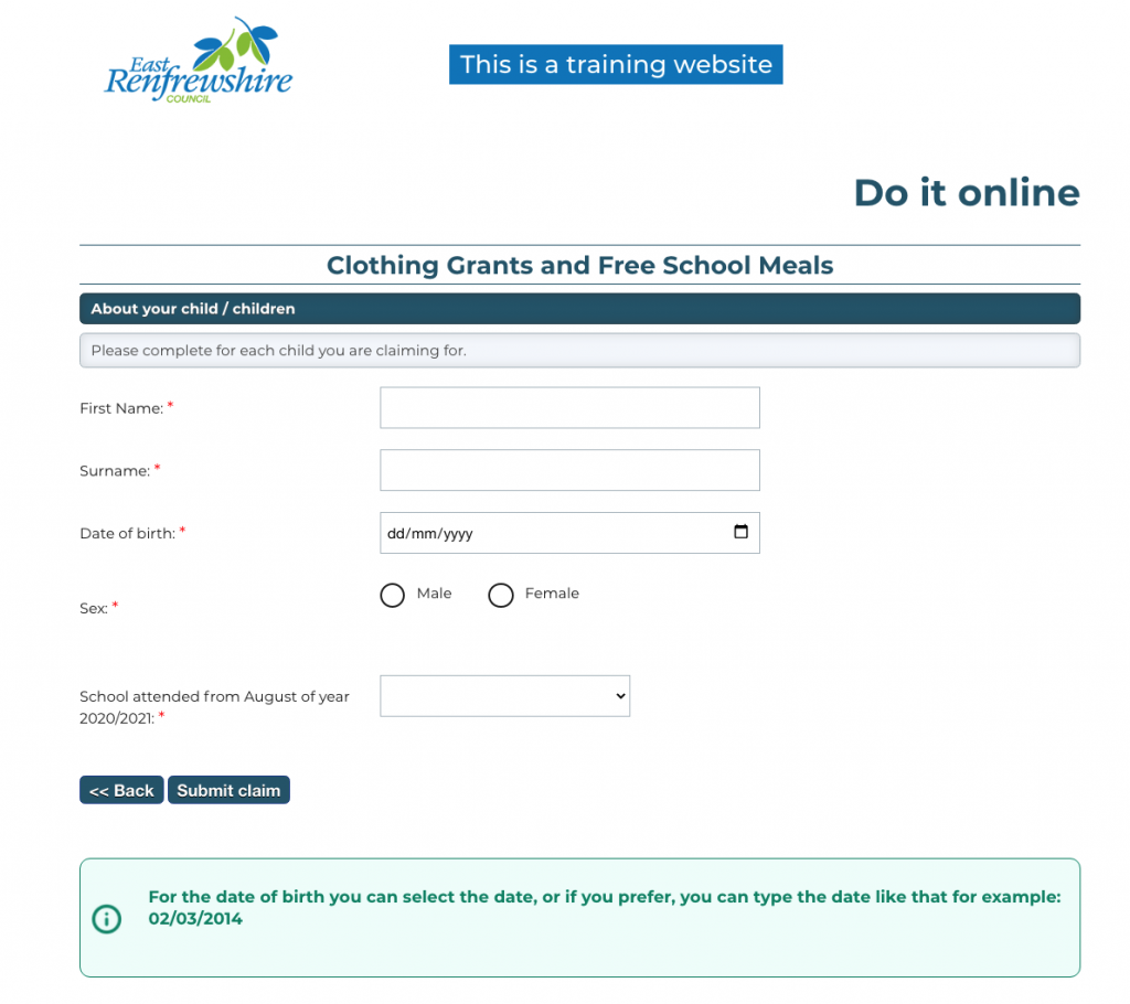 screenshot of a form with the pale green box of text at the bottom explaining: For the date of birth, you can select the date or, if you prefer, you can type the take like that for example: 02/03/2014