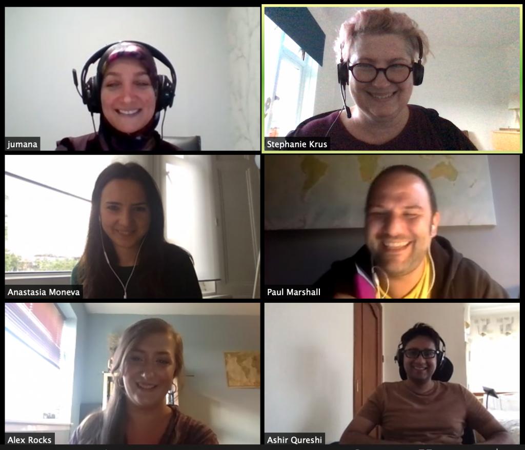 screenshot of a zoom call with Jumana, Stéphanie, Anastasia, Paul, Alex and Ashir