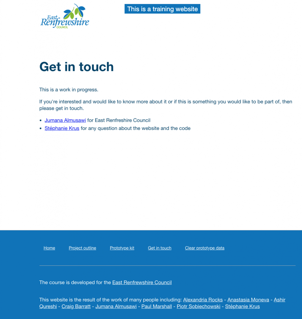 This is the old Get in touch page, the logo is blue and green the header is white, the footer is blue.