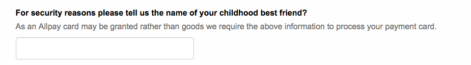 screenshot of the form, with the question: For security reasons please tell us the name of your childhood best friend