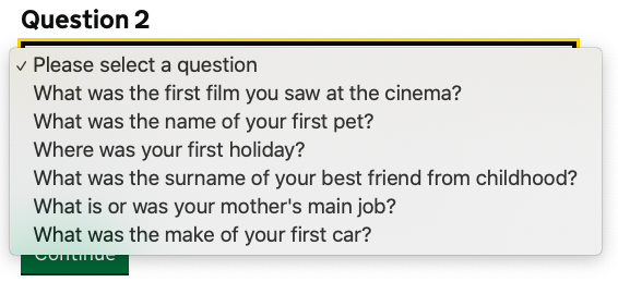 List of 5 questions around: first film you saw at the cinema, name of first pet, first holiday, surname of best childhood friend, you're mother's main job, make of your first car