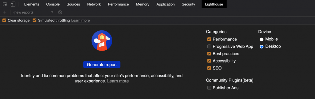 screenshot of the audit functionality of the Chrome Devtools in dark mode