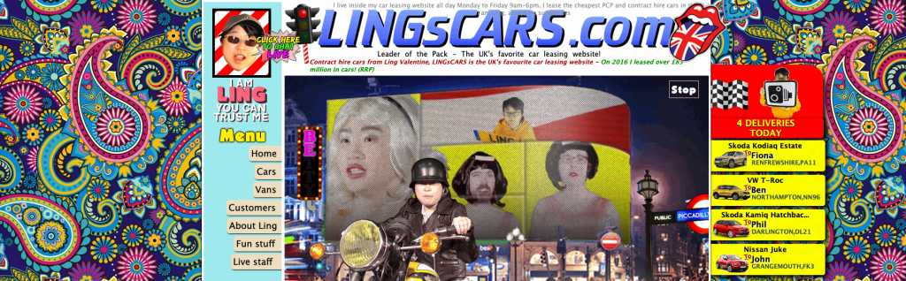 screenshot of the website Lingscars.com . There is text, drawings pictures everywhere, very flashy colours, different fonts, everything is competing for your attention