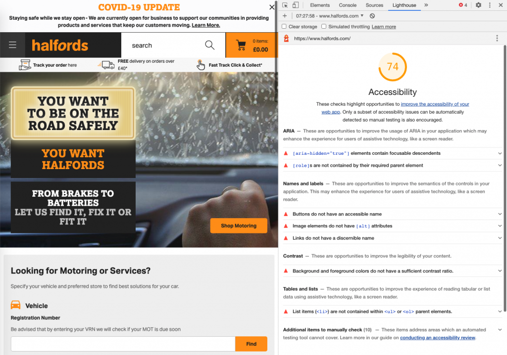 screenshot showing the report in the dock on the right part and halford homepage on the left. There is a list of warnings in the report stating the issues