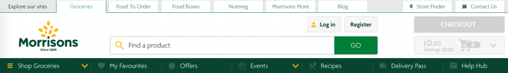 screenshot of the banner and top menu bars from Morrisons, some icons are light green on dark green and very hard to notice.