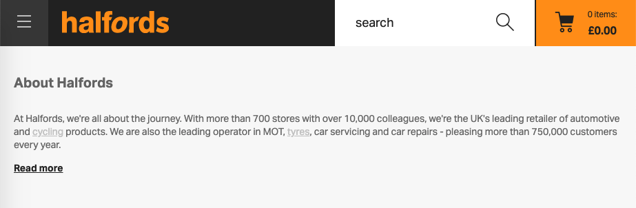 screenshot of Halfords homepage, one paragraph of black text has soem links in light grey with a background which is also light grey.