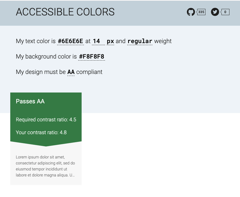 screenshot of accessibility tool used on the page with the colour code of the text and the one from the background entered