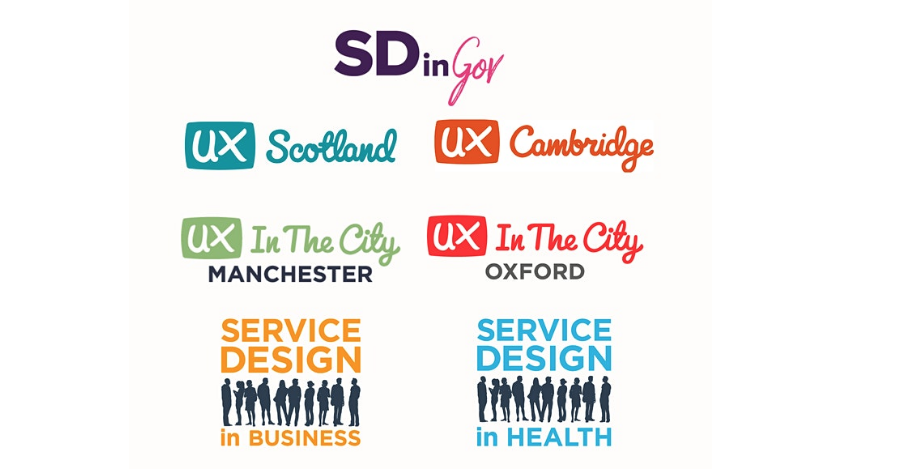 logos from various conferences like SDinGov and UX Scotland