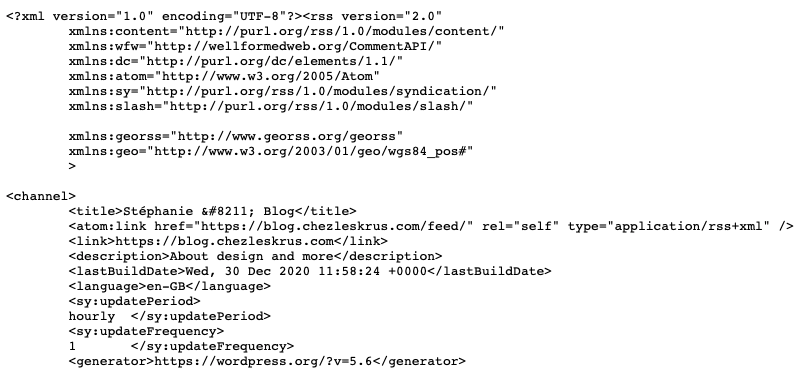 screenshot of part of the XML code for the feed for my blog