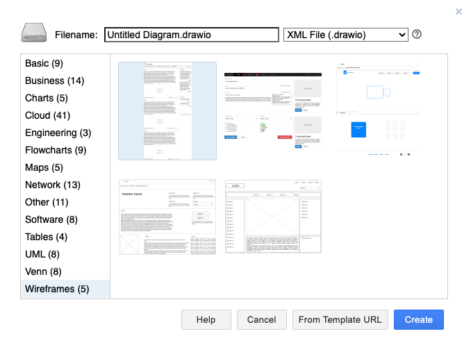 Draw.io -  screenshot of the templates available when you start a new file