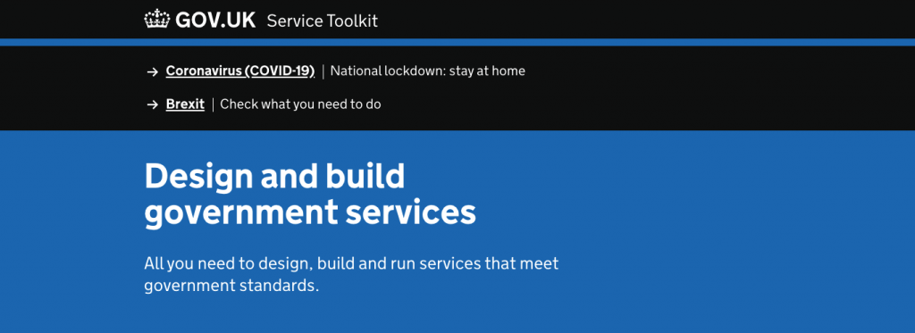 Screenshot of the heading of the page for the Service Toolkit, which says: Design and build government services