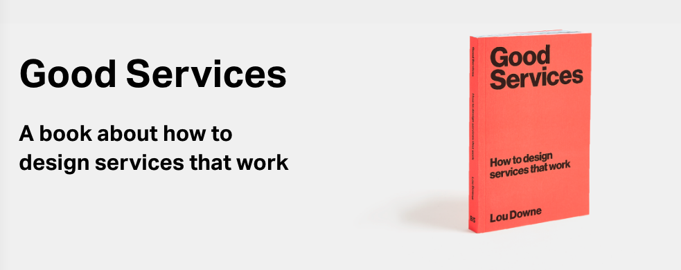 Screenshot of the page of the website where you can buy the book, with the book which is bright orange and the text: A book about how to design services that work
