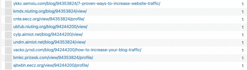 screenshot of url where the format is a weird succession of letters then .org or .net then /view or /blog, then digits and then /view or /profile. Some even end with how-to-increase-your-blog-traffic