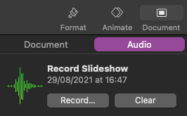 screenshot of the menu when the Document menu is selected, you can see the Audio button is active and below the option to record