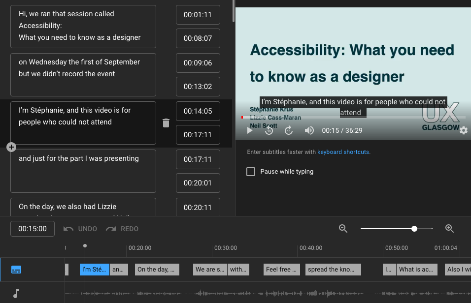 screenshot of a window in Youtube studio with on the left, the editing pane with each subtitle as a block one under an another with start and ed time, on the right there is the video itself which you can play there and all long the bottom, there is the times +  the sound intensity diagram and the block of texts horizontally